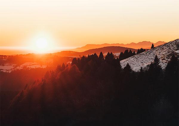 Setting sun on mountains